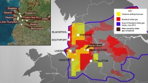 Picture 3: Map showing shale gas deposits, drilling licences and drill locations in the North West. Photo credit: BBC